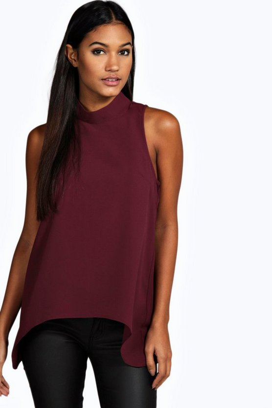 Woven High Neck Swing Top