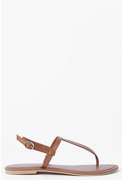 Womens Tan Boutique Plain Toe Thong Leather Sandals