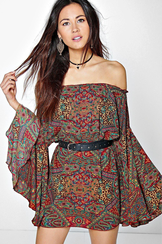 b7b435922818 Marsa Wide Sleeve Off The Shoulder Dress