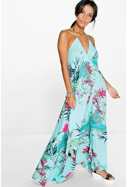 Womens Turquoise Inna Tropical Halter Maxi Dress