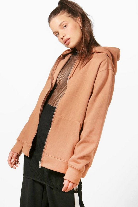 Womens Tan Zip Through Hoody