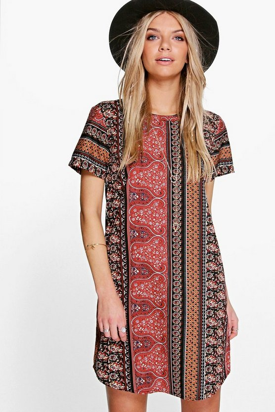Multi Katherine Paisley Shift Dress