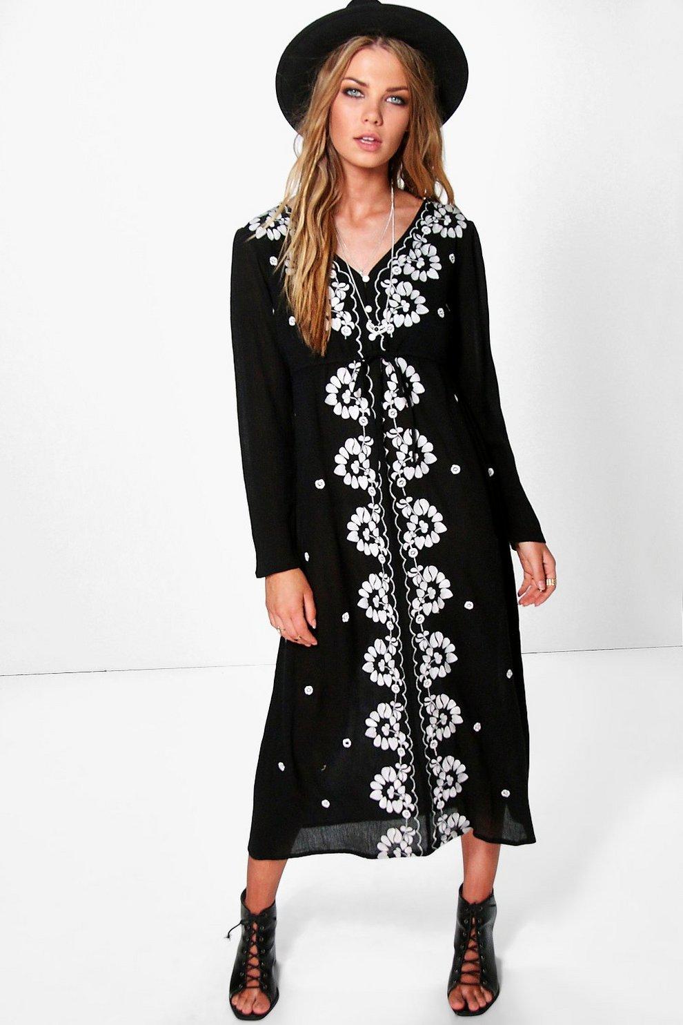 7ce7e4f9f48f Georgia Embroidered Midi Dress | Boohoo