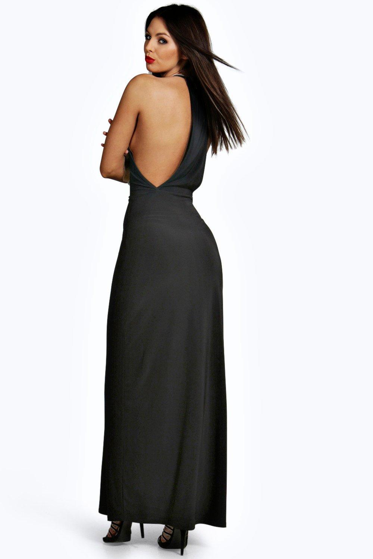 Boohoo Womens Marie Slinky Wrap Front Drape Back Maxi Dress 8444de823