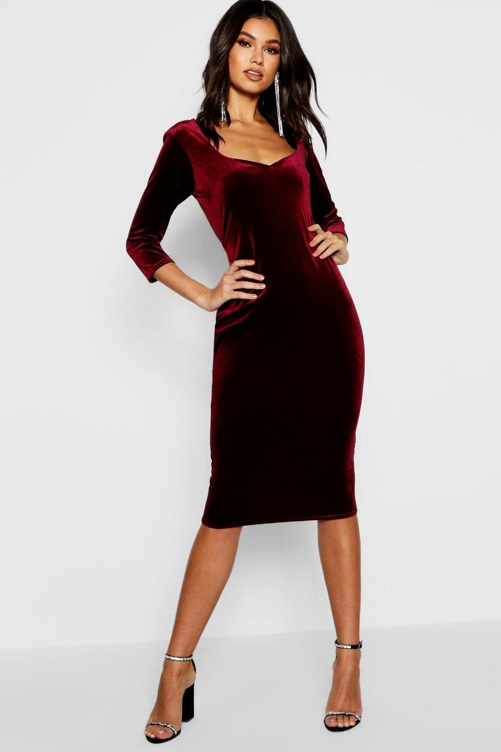 Velvet 3 4 Sleeve Midi Dress  e377548f1