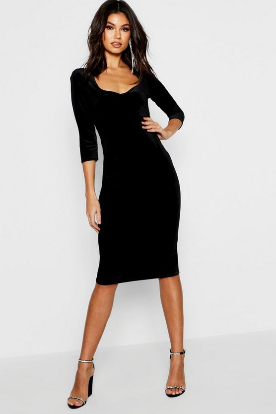 Velvet 3/4 Sleeve Midi Dress