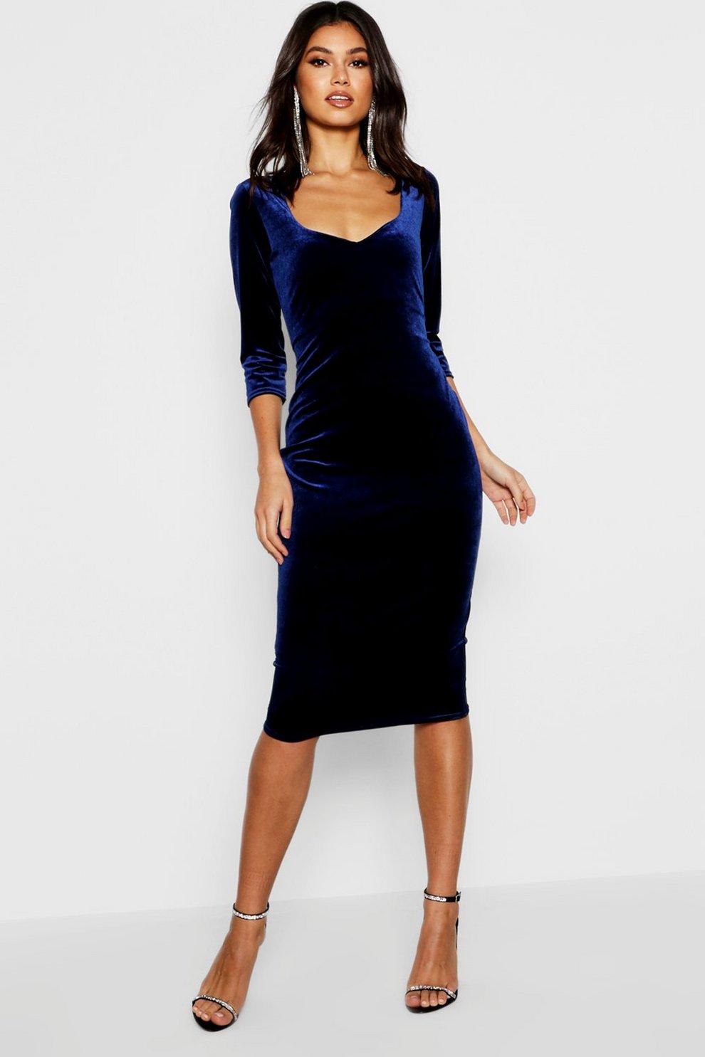 00838e139ca25 Womens Navy Velvet 3/4 Sleeve Midi Dress
