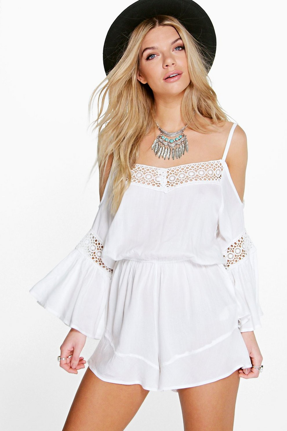 f1d1c96750 Olivia Open Shoulder Crochet Trim Playsuit
