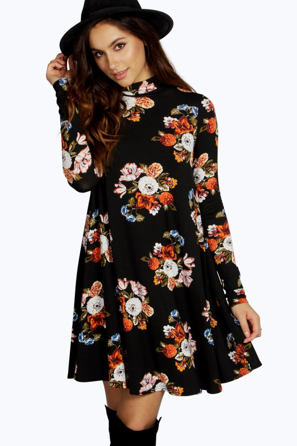 ee61ea82ea1 Harriet High Neck Swing Floral Dress | Boohoo