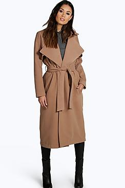 1950s Jackets and Coats | Swing, Pin Up, Rockabilly Lois Longline Belted Wool Look Trench $76.00 AT vintagedancer.com