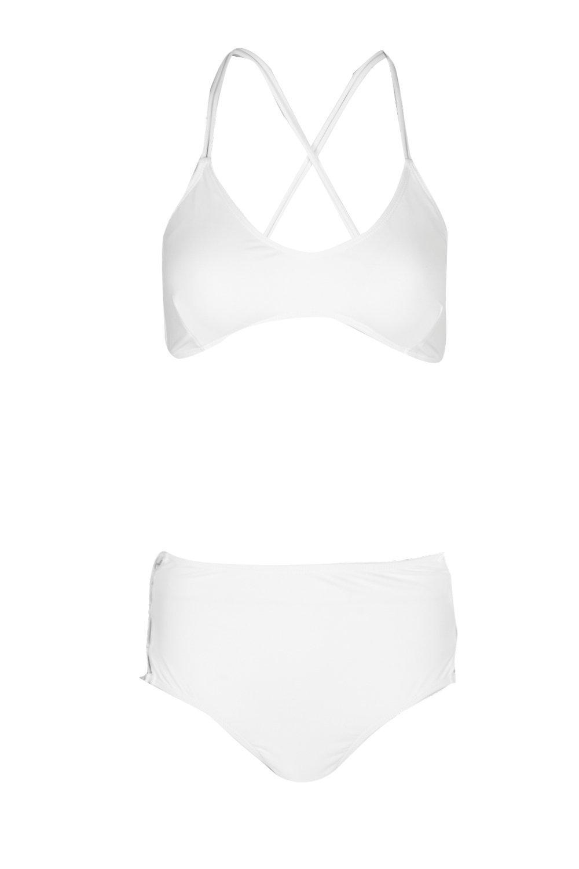 corto cintura Blanco alta Biquini Dinamarca con 7pn4TAT