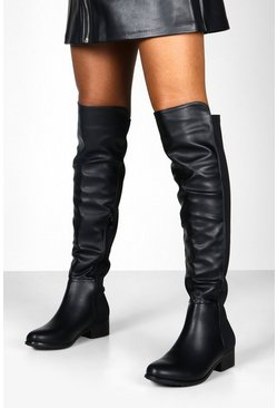 Womens Black Elastic Back Over The Knee Boots