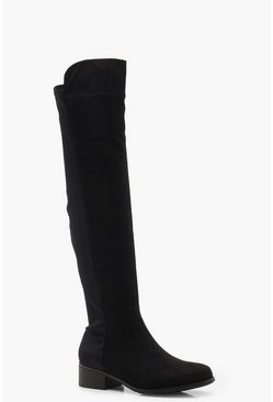 Womens Black Elastic Back Flat Over Knee Boots