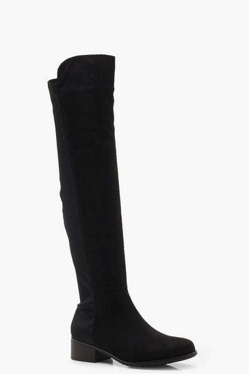 Black Elastic Back Flat Over Knee Boots