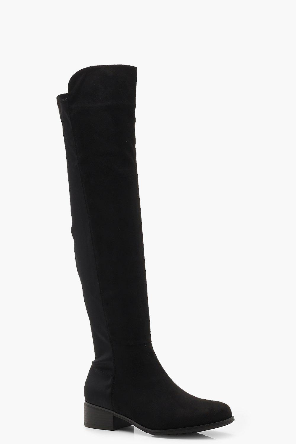 639d5c6c0bb Elastic Back Flat Over Knee Boots. Hover to zoom