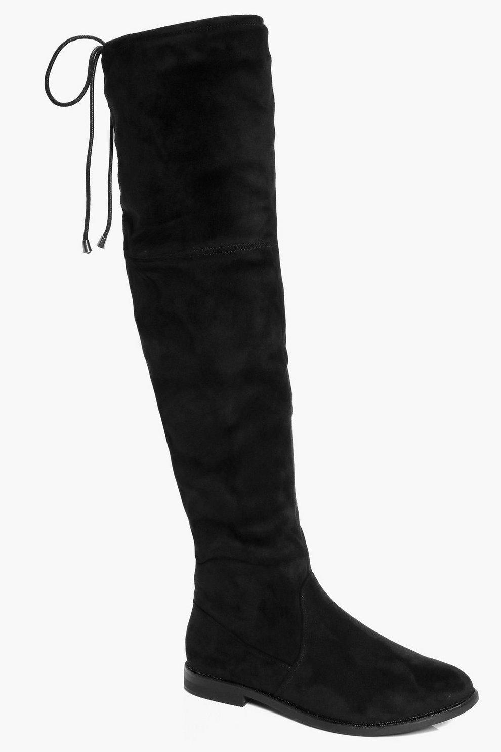 7dfedbec1b Tie Back Flat Over The Knee Boots | Boohoo