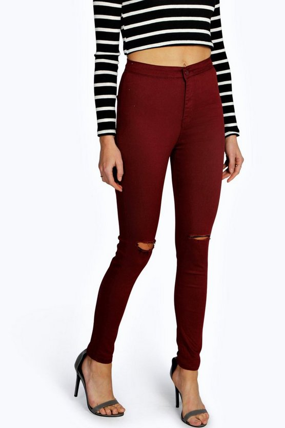 Ripped Knee High Waist Skinny Jeans