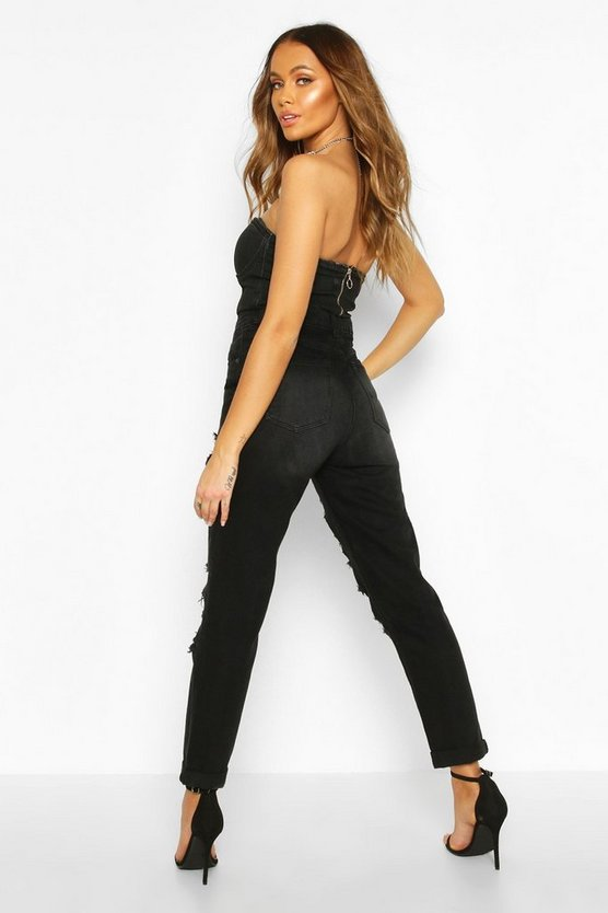 Mid Rise Black Wash Distressed Boyfriend Jeans
