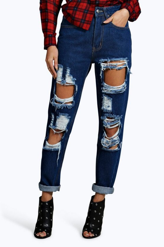 70's High Rise Distressed Mom Jeans