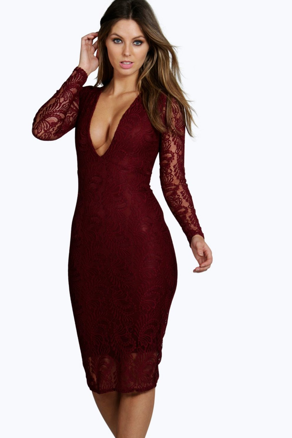 bc9019f1181e Womens Berry Sia Lace Long Sleeve Plunge Bodycon Midi Dress