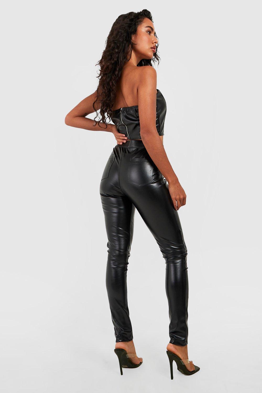 poliuretano de negro Pantalones revestidos mate Skinny con wax70Sq