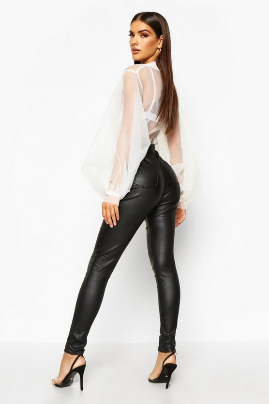 High Waist Matte Leather Look Skinny Trousers