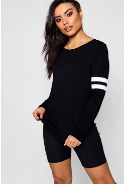 Womens Black Baseball Long Sleeve Top