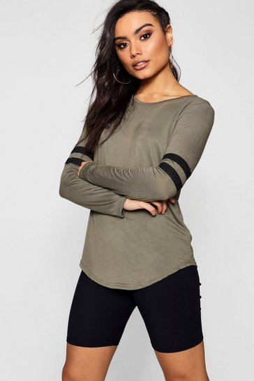 Womens Khaki Baseball Long Sleeve Top