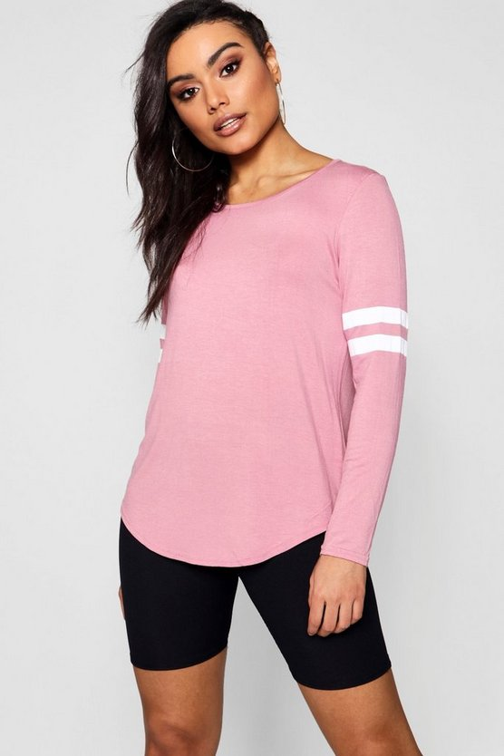 Womens Rose Baseball Long Sleeve Top