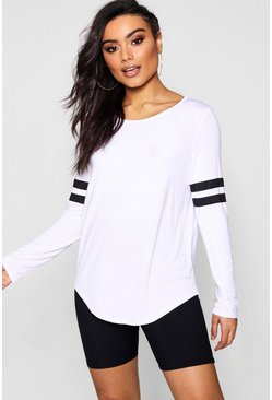 Womens White Baseball Long Sleeve Top