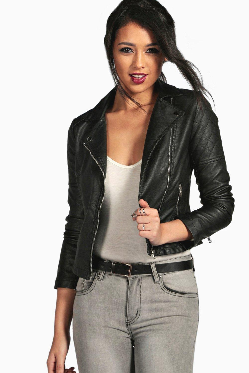 d336724fa83fa Womens Black Faux Leather Biker Jacket. Hover to zoom