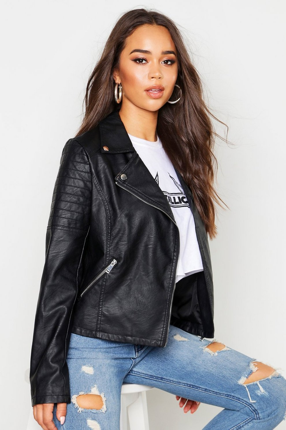 217ad14ae Faux Leather Biker Jacket