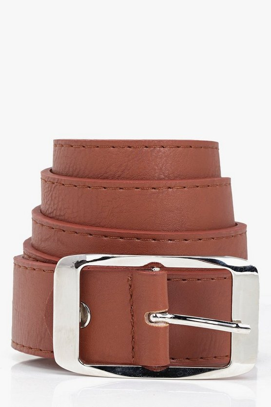 Womens Tan Chunky Boyfriend Belt
