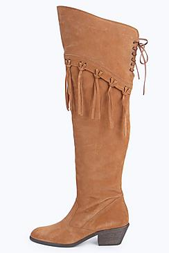 Retro Boots, Granny Boots, 70s Boots Boutique Ella Leather Over The Knee Tassel Boot $122.00 AT vintagedancer.com