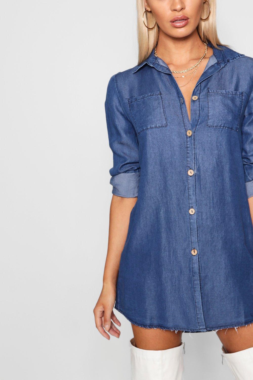 camisa camisa Vestido Azul Vestido estilo estilo denim UdRBRqw