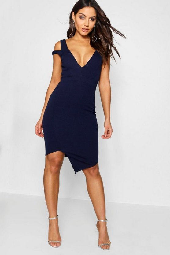 Vestido bodycon asimétrico cut-out
