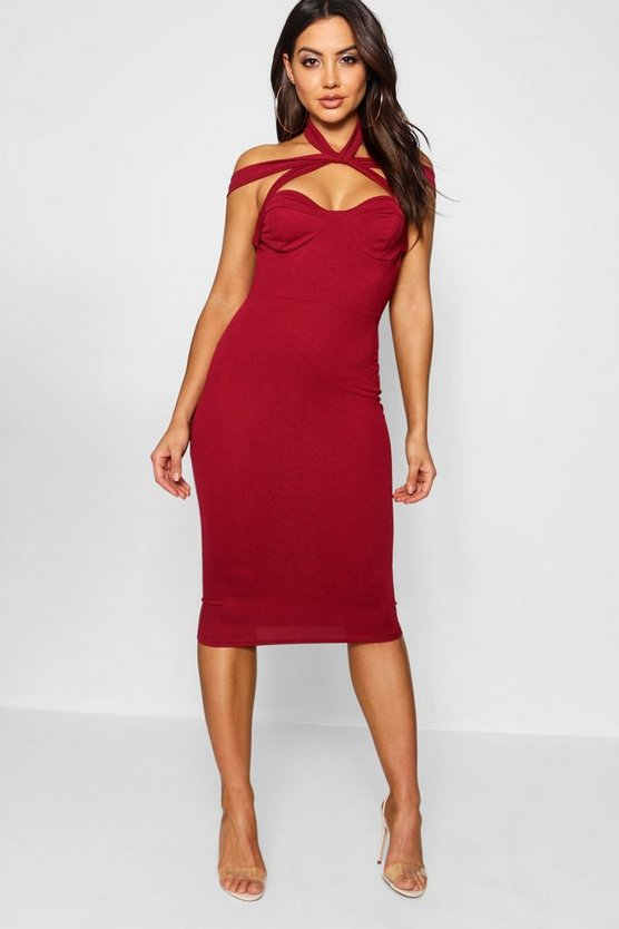 Strappy Top Detail Midi Bodycon Dress
