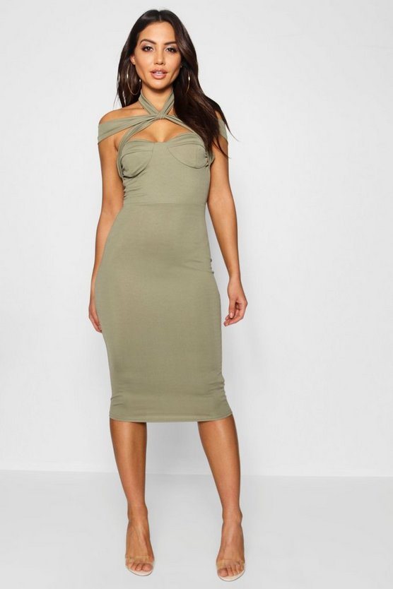 Womens Khaki Strappy Top Detail Midi Bodycon Dress