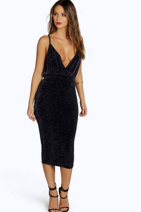 Kate Strappy Wrap Metallic Midi Dress