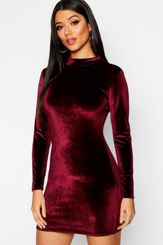Womens Berry Velvet High Neck Bodycon Dress