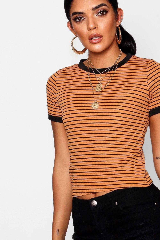 anilla con acanalada en Mostaza Camiseta contraste 6HE1qx