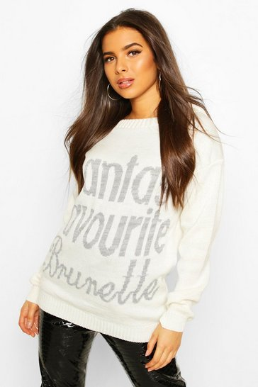 Womens Cream Santa's Favourite Brunette Slash Neck Christmas Jumper