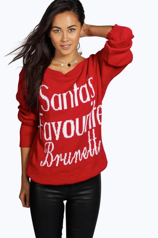 Santa's Favourite Brunette Slash Neck Christmas Jumper
