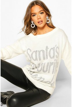 Womens Cream Santa's Favourite Blonde Christmas Jumper