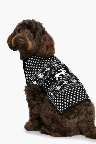 Black Fairisle Christmas Dog Jumper
