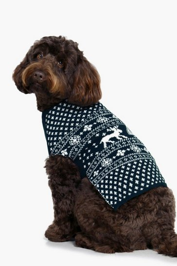 Womens Navy Fairisle Christmas Dog Jumper