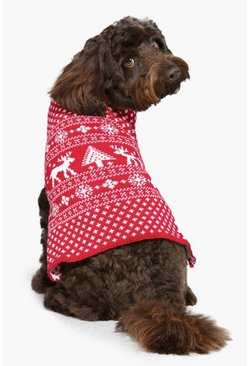 Womens Red Fairisle Christmas Dog Jumper