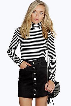 1960s Style Skirts Laura Black Denim Button Through Mini Skirt black $30.00 AT vintagedancer.com
