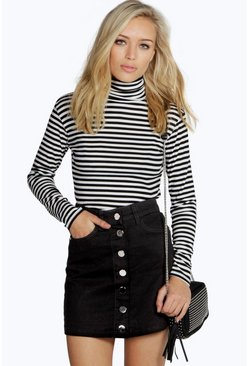 Black Denim Button Through Mini Skirt