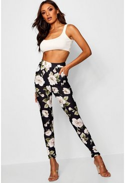 Multi Large Floral Skinny Trousers